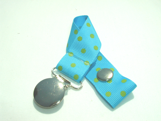 Island Blue w/ Green Swiss Dots Pacifier Holder-Island Blue w/ Green Swiss Dots Pacifier Holder