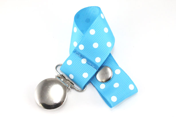 Island Blue w/ White Swiss Dots Pacifier Holder