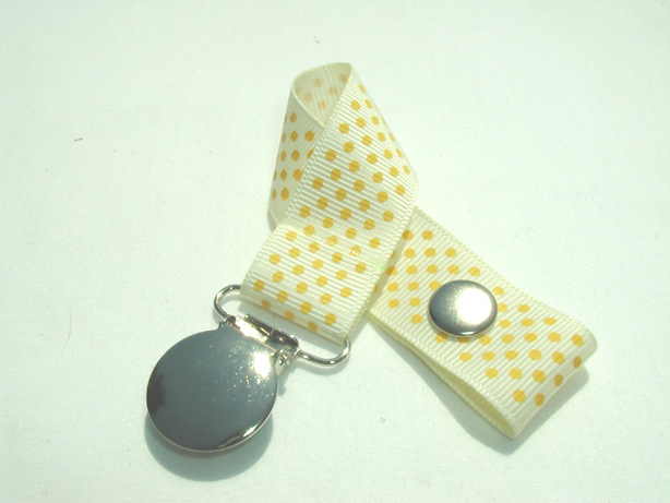 Candlelight w/ Yellow Mini Dots Pacifier Holder-Candlelight w/ Yellow Mini Dots Pacifier Holder
