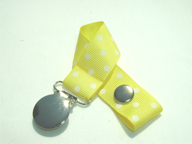 Lemon w/ White Swiss Dots Pacifier Holder-Lemon w/ White Swiss Dots Pacifier Holder