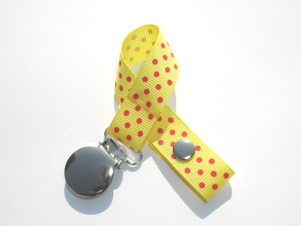 Lemon w/ Red Mini Swiss Dots Small Pacifier Holder-Lemon w/ Red Mini Swiss Dots Small Pacifier Holder