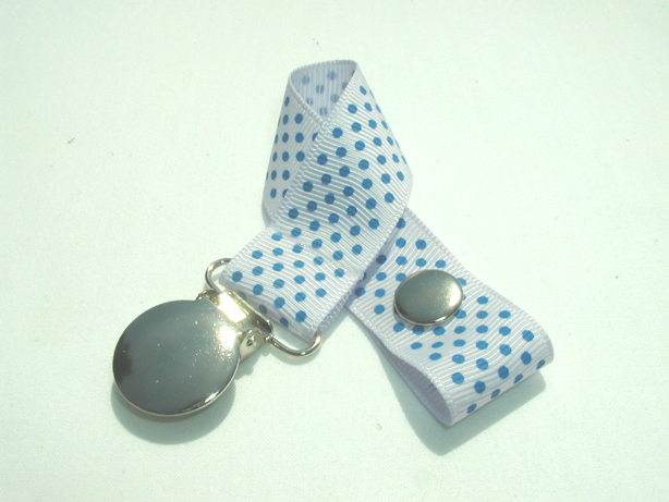 Lilac Mist w/ Blue Mini Dots Pacifier Holder-Lilac Mist w/ Blue Mini Dots Pacifier Holder