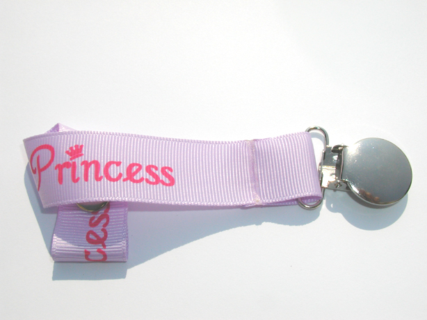 Princess Pink on Purple Pacifier Holder-Princess Pink on Purple Pacifier Holder