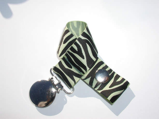 Zebra Lime Juice Pacifier Holder-Zebra Lime Juice Pacifier Holder