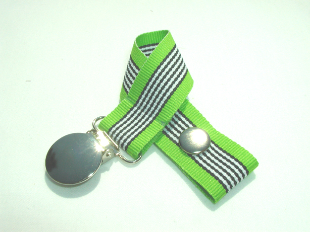 Lime Zebra Pacifier Holder-Lime Zebra Pacifier Holder