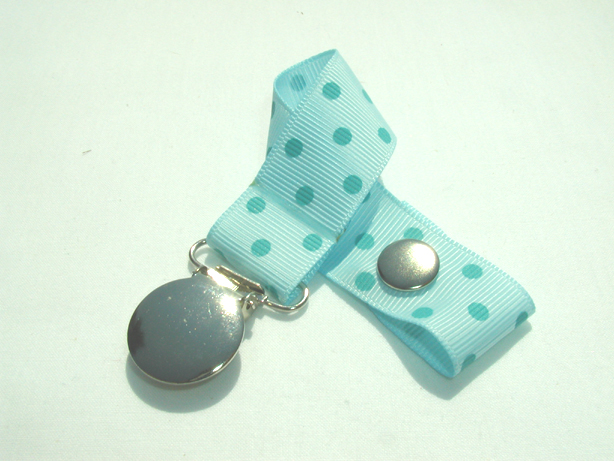 Lt. Blue w/ Blue Swiss Dots Pacifier Holder-Lt. Blue w/ Blue Swiss Dots Pacifier Holder