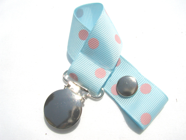 Lt. Blue w/ Pink Polka Dots Pacifier Holder-Lt. Blue w/ Pink Polka Dots Pacifier Holder