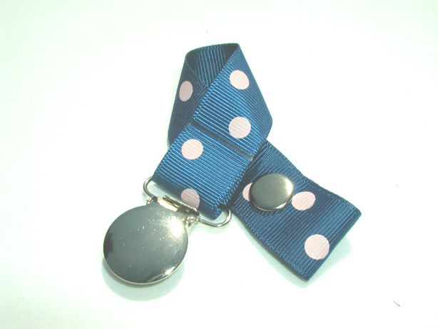 Lt. Navy w/ Pink Polka Dots Pacifier Holder-Lt. Navy w/ Pink Polka Dots Pacifier Holder