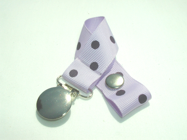 Lt. Orchid w/ Purple Polka Dots Pacifier Holder-Lt. Orchid w/ Purple Polka Dots Pacifier Holder