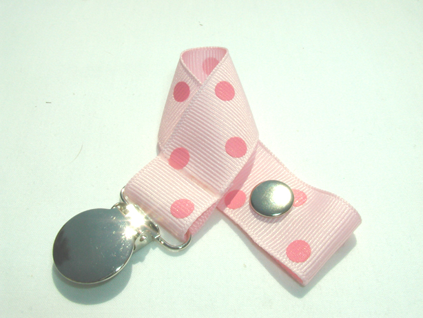 Lt. Pink w/ Pink Polka Dots Pacifier Holder-Lt. Pink w/ Pink Polka Dots Pacifier Holder