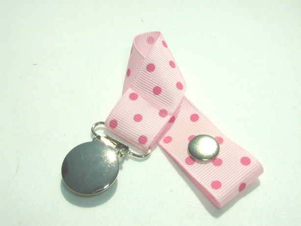 Pearl Pink w/ Pink Swiss Dots Pacifier Holder-Pearl Pink w/ Pink Swiss Dots Pacifier Holder