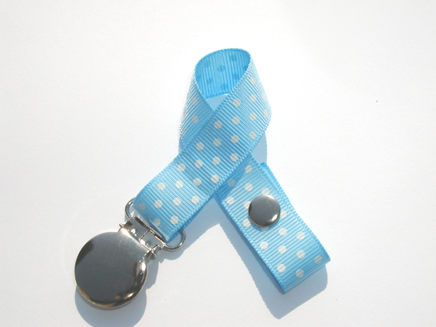 Lt. Blue w/ White Mini Swiss Dots Small Pacifier Holder-Lt. Blue w/ White Mini Swiss Dots Small Pacifier Holder