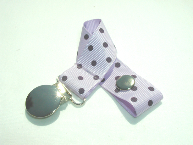 Lt. Orchid w/ Purple Swiss Dots Pacifier Holder-Lt. Orchid w/ Purple Swiss Dots Pacifier Holder