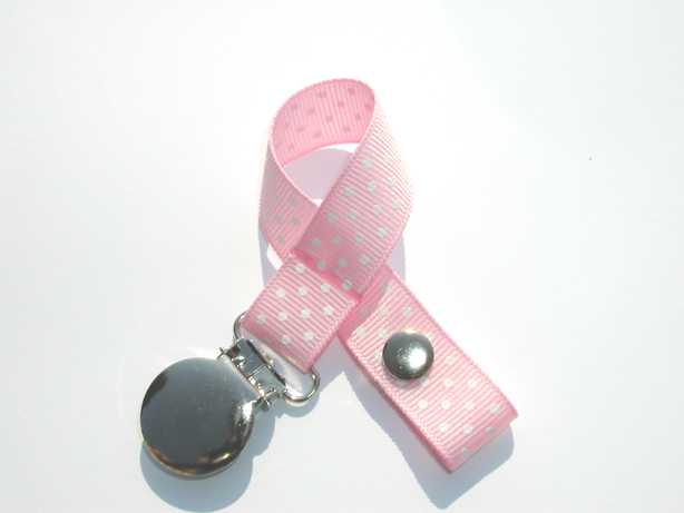 Lt. Pink w/ White Mini Swiss Dots Small Pacifier Holder-Lt. Pink w/ White Mini Swiss Dots Small Pacifier Holder