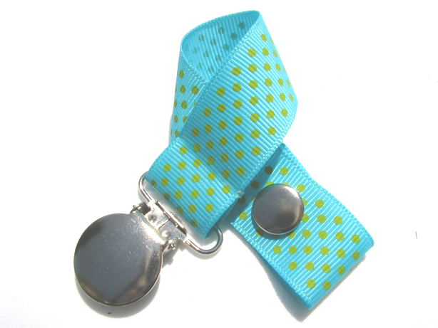 Misty Turquoise w/ Green Mini Dots Pacifier Holder-Misty Turquoise w/ Green Mini Dots Pacifier Holder