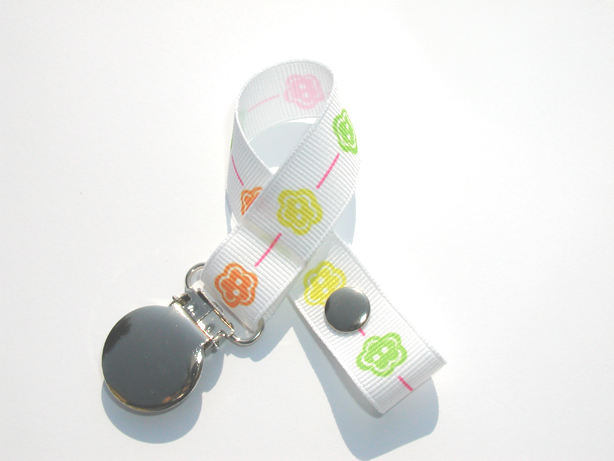 Multi-color Flowers Small Pacifier Holder-Multi-color Flowers Small Pacifier Holder