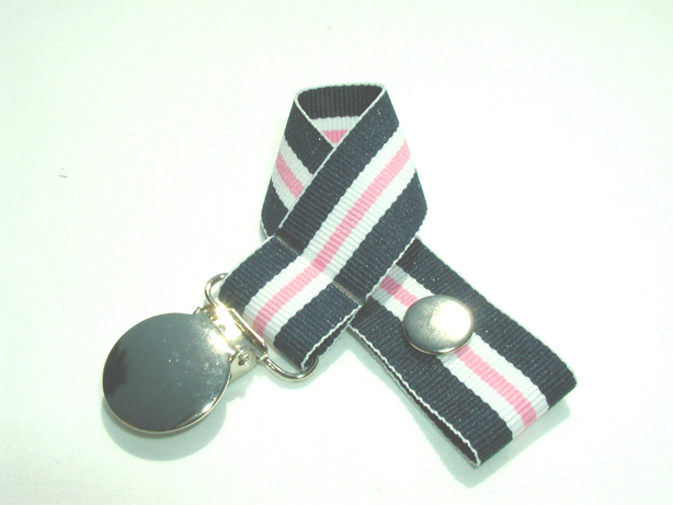 Nautical Pink Pacifier Holder-Nautical Pink Pacifier Holder