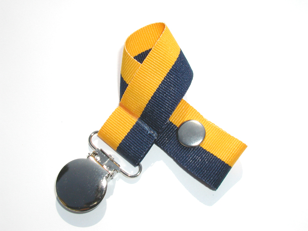 Navy/Gold Bi-Stripe Pacifier Holder-Navy/Gold Bi-Stripe Pacifier Holder