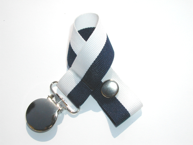 Navy/White Bi-Stripe Pacifier Holder-Navy/White Bi-Stripe Pacifier Holder