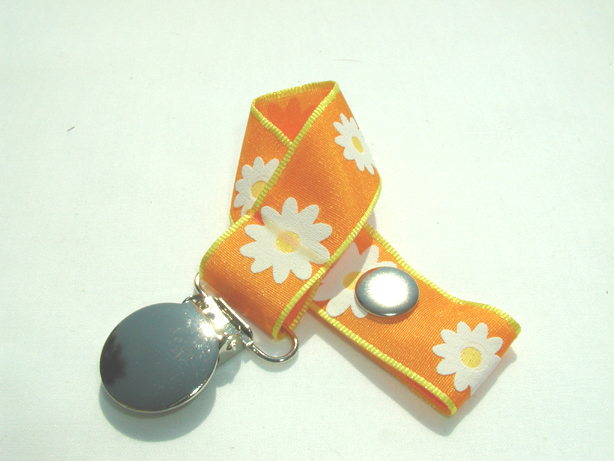 Orange Flowers Pacifier Holder-Orange Flowers Pacifier Holder
