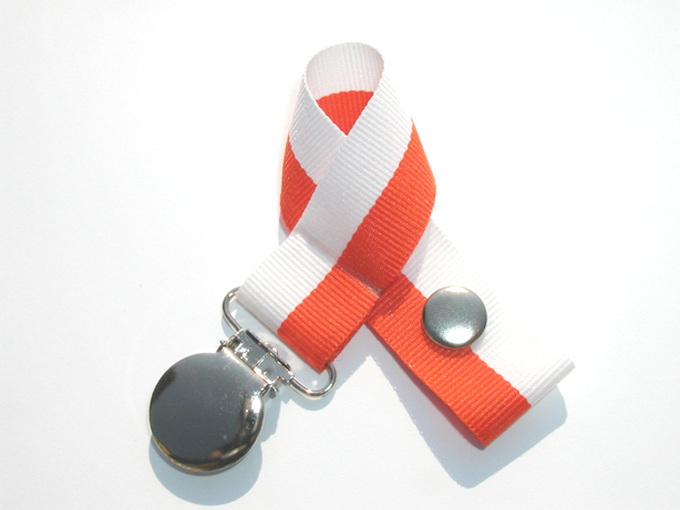 Orange/White Bi-Stripe Pacifier Holder-Orange/White Bi-Stripe Pacifier Holder