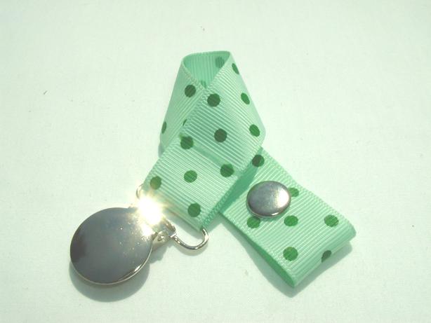 Pastel Green w/ Green Swiss Dots Pacifier Holder-Pastel Green w/ Green Swiss  Dots Pacifier Holder