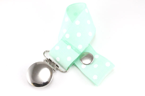 Pastel Green w/ White Swiss Dots Pacifier Holder-Pastel Green w/ White Swiss Dots Pacifier Holder