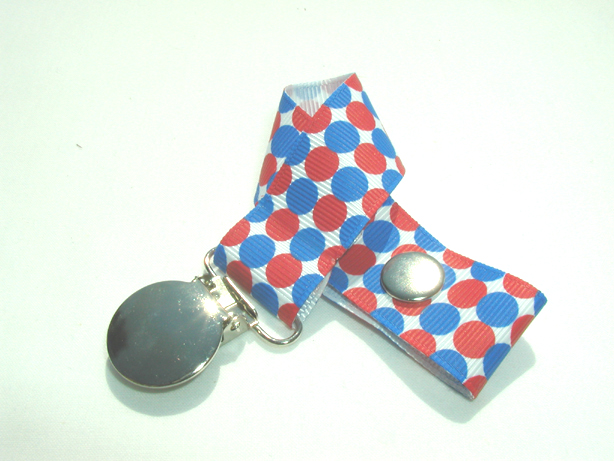 Patriotic Dots Pacifier Holder-Patriotic Dots Pacifier Holder