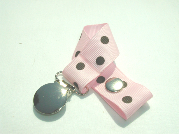 Pearl Pink w/ Brown Polka Dots Pacifier Holder-Pearl Pink w/ Brown Polka Dots Pacifier Holder