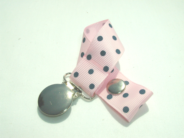 Pearl Pink w/ Blue Swiss Dots Pacifier Holder-Pearl Pink w/ Blue Swiss Dots Pacifier Holder