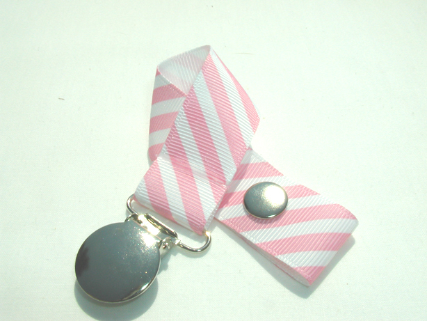 Pink Pastel Stripes Pacifier Holder-Pink Pastel Stripes Pacifier Holder