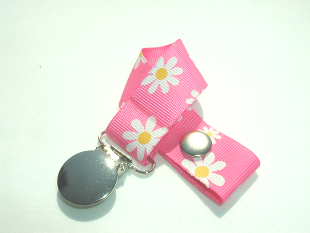 Pink Flowers Pacifier Holder-Pink Flowers Pacifier Holder