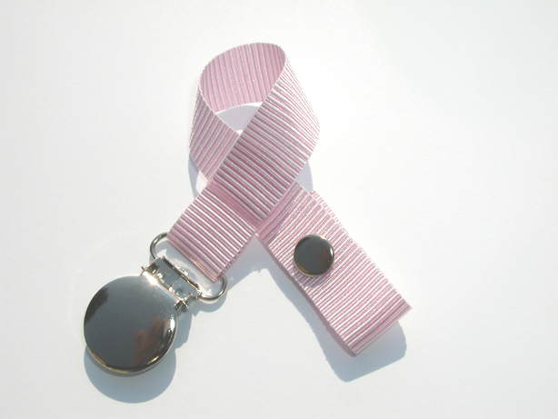 Pink Horizontal Stripes Pacifier Holder-Pink Horizontal Stripes Pacifier Holder