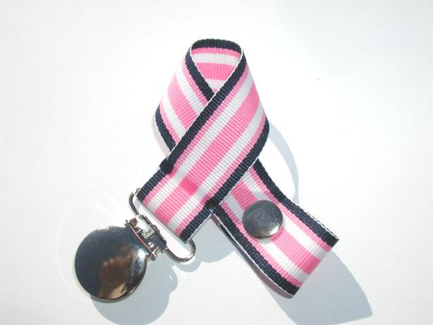 Pink Navy Surfboard Pacifier Holder-Pink Navy Surfboard Pacifier Holder