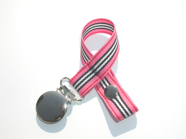 Pink Racing Stripes Pacifier Holder-Pink Racing Stripes Pacifier Holder