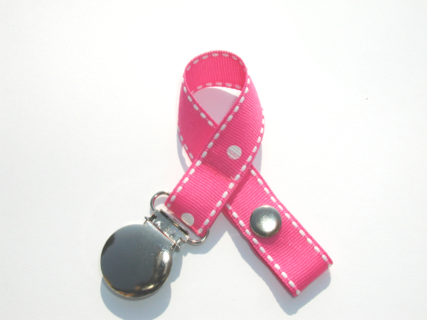 Pink Dots Stitches Pacifier Holder-Pink Dots Stitches Pacifier Holder