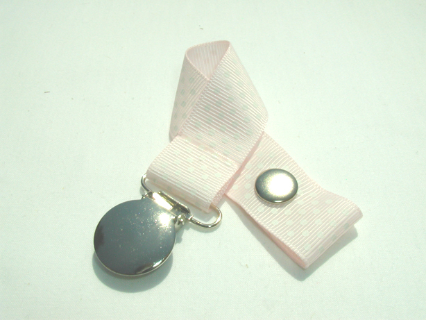 Rose Pink w/ White Mini Dots Pacifier Holder-Rose Pink w/ White Mini Dots Pacifier Holder