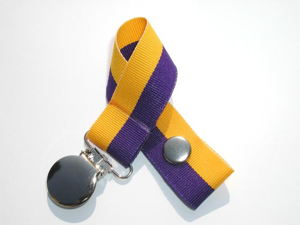 Purple/Gold Bi-Stripe Pacifier Holder-Purple/Gold Bi-Stripe Pacifier Holder
