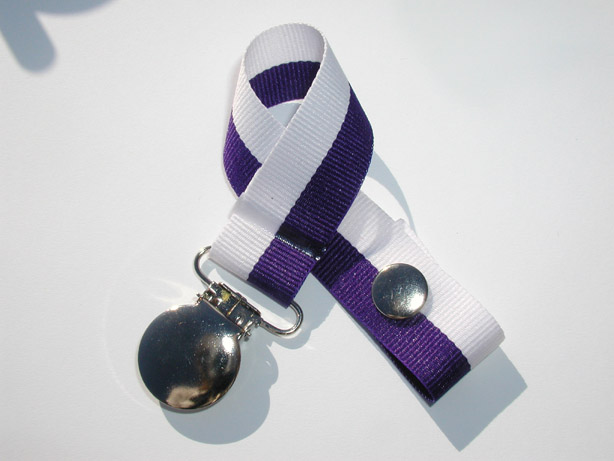 Purple White Bi-Stripe Pacifier Holder-Purple White Bi-Stripe Pacifier Holder