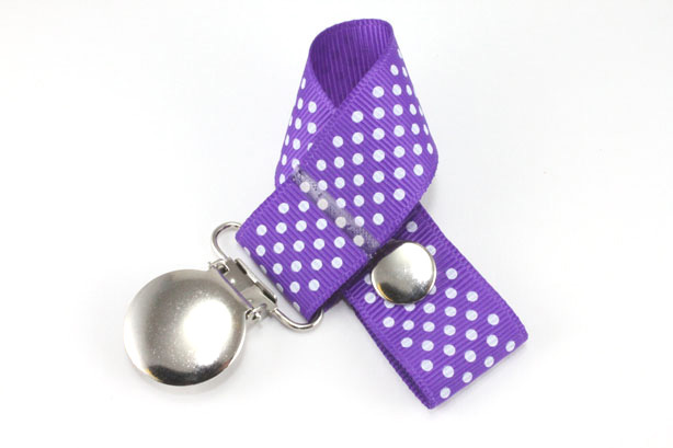 Purple w/ White Mini Dots Pacifier Holder-Purple w/ White Mini Dots Pacifier Holder