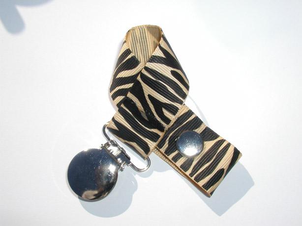 Zebra Raw Silk Pacifier Holder-Zebra Raw Silk  Pacifier Holder