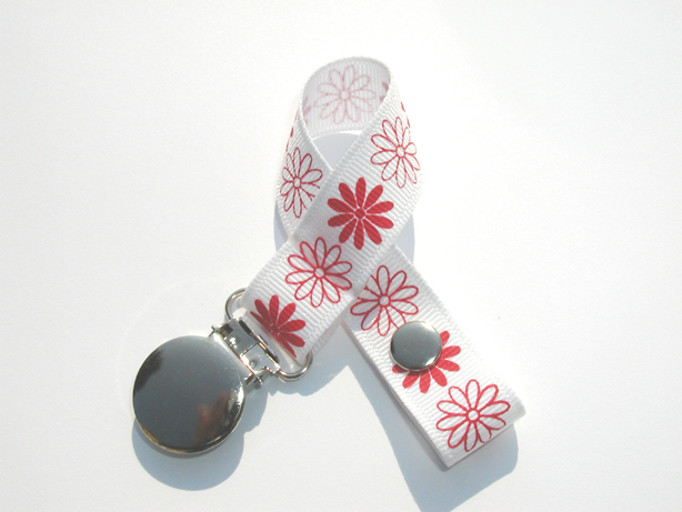 Red Flowers Small Pacifier Holder-Red Flowers Small Pacifier Holder