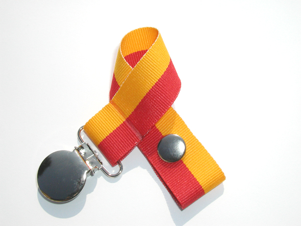 Red/Gold Bi-Stripe Pacifier Holder-Red/Gold Bi-Stripe Pacifier Holder