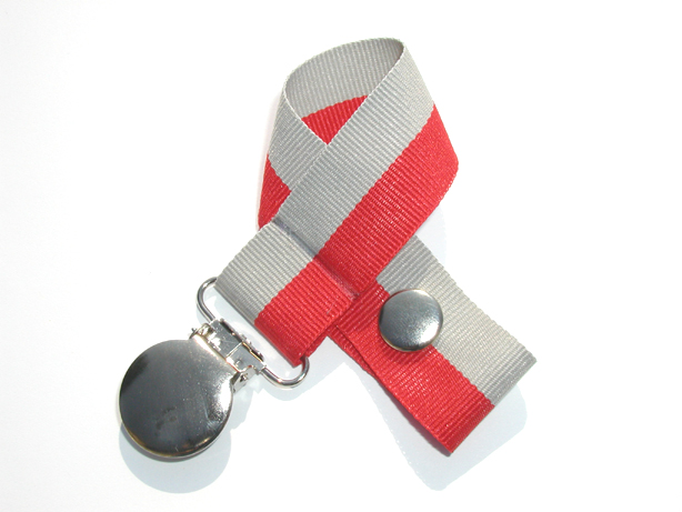 Red/Gray Bi-Stripe Pacifier Holder-Red/GrayBi-Stripe Pacifier Holder