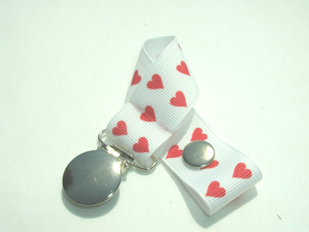 Red Hearts Pacifier Holder-Red Hearts Pacifier Holder