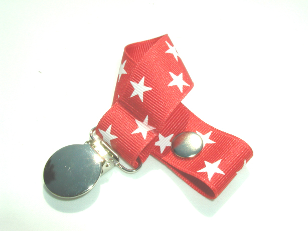 Red Stars Pacifier Holder-Red Stars Pacifier Holder
