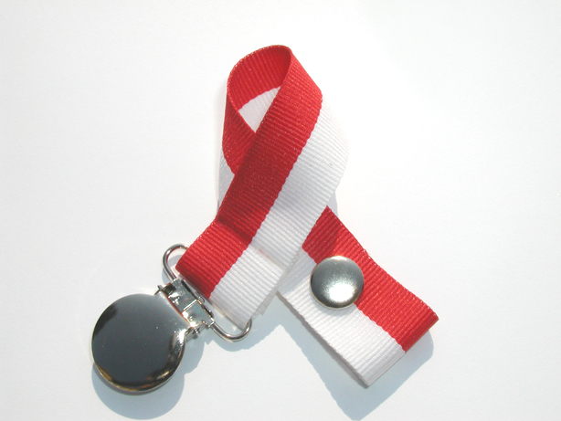 Red/White Bi-Stripe Pacifier Holder-Red/White Bi-Stripe Pacifier Holder