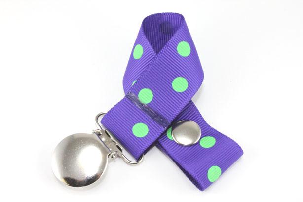 Regal Purple w/ Green Polka Dots Pacifier Holder-Regal Purple w/ Green Polka Dots Pacifier Holder