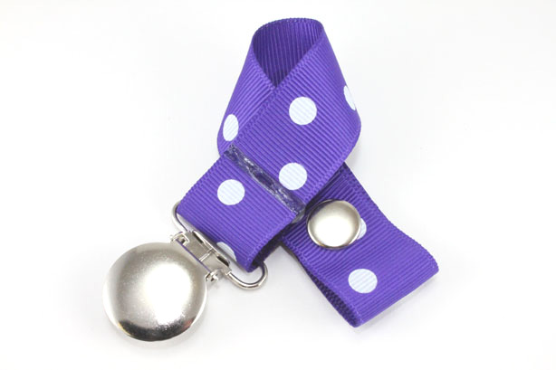 Regal Purple w/ White Polka Dots Pacifier Holder-Regal Purple w/ White Polka Dots Pacifier Holder