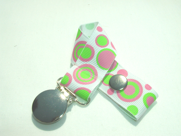 Retro Green Pink Circles Pacifier Holder-Retro Green Pink Circles Pacifier Holder